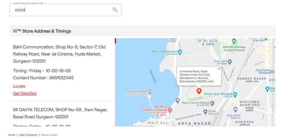 Find Nearest Vodafone Store